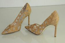 New Manolo Blahnik BB 105 Matte Cork on Mesh Beige Nude Shoes Pumps Heels 37