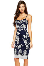 Navy Spaghetti Straps Floral Print Midi Dress Square Collar Stage Dance Wear