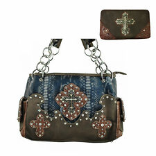 Rhinestone Cross Flowers Style Leather Women's Handbag with Matching Wallet 5237