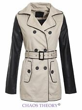 Brave Soul Ladies Womens Double Breasted Pu Sleeves Trench Mac Coat Jacket