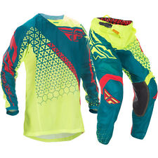 Fly Racing NEW Mx Kinetic Mesh Trifecta Dirt Bike Yellow Teal Motocross Gear Set