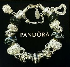 AUTHENTIC PANDORA CHARM BRACELET 925 ALE Silver European Glass Lampwork Beads 11
