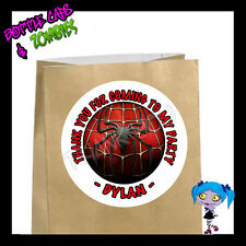 Spiderman Superhero Birthday Party Favor Goody Bag STICKERS - Personalized