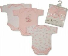 3 piece Pink Brand new Baby Patterned Short Sleeve Sleep Body suits in Girl-BNWT