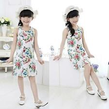 2-7 Year Kid Baby Girls Summer Sleeveless Floral Skirt Dress Beach Vest Sundress