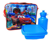 NEW KIDS BOYS INSULATED LUNCH BOX SET DISNEY CARS SCHOOL LUNCH BAG BACKPACK EAT