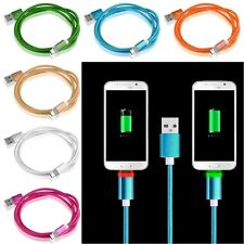 Braided Aluminum Micro USB Male Charger Adapter Rope LED Light Sync Data Cable