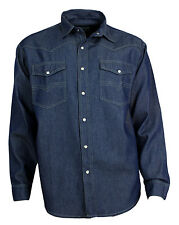 Western Memory Jeans Shirt Cotton Shirt Poppers blue S to 4XL