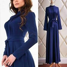 Ladies Long Sleeve Slim Dress Fashion Cocktail Party Long Maxi Gown Dress S-XL