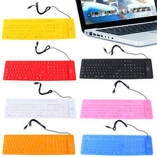 Waterproof Portable Soft Flexible Silicone Keyboard for PC Laptop 109 Keys E0