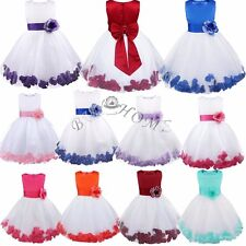 Petals Flower Girl Princess Pageant Party Wedding Ceremony Tulle Gown Tutu Dress