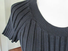 M AUGUST SILK SILK NYLON RAYON AMAZING WIDE-RIB CAP SLEEVE SCOOP KNIT BLACK TOP