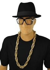 DELUXE 80's RUN DMC Rapper OLD SCHOOL Glasses Fedora Hat FAT ROPE Chain Costume