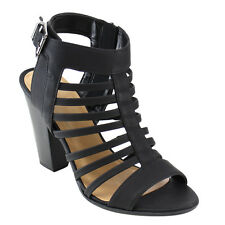 Beston IB39 Women's Caged Strappy Buckled Ankle Strap Stacked Chunk Heel Sandal