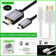 HDMI Cable Micro HDMI to HDMI Cable Gold-Plated 3D 4K for HDTV Xbox Phone HTC 2M