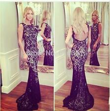 2016 Black lace Backless Court Train Long Evening Bridesmaid Wedding Prom Dress