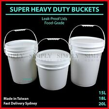 Plastic Bucket with Lid Food Grade Buckets 20 Litre Handle Pail Bulk White