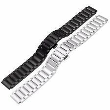 Black/Silver Stainless Steel 20/18mm Polish Watch Band Strap Bracelet Deployment