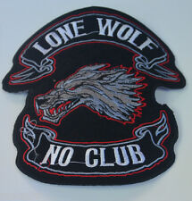 "9cm / 3.5"" LONE WOLF NO CLUB  CLOTH SEW IRON ON PATCH BADGE BIKER  MOTORCYCLE"