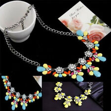 Occident style fashion delicate crystal gem flowers Clavicle necklace