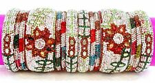 Indian Bridal Crystal Lac Dulhan White Pink Green Brown Multi Color Bangles Set