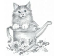 Kitten in Watering Cat Shirt, cat t-shirt, sweet kitty kat in garden & flowers