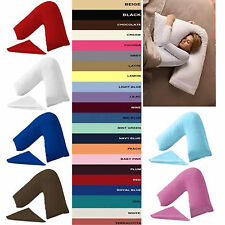 V Shaped Pillow + Case PolyCotton Oprthopadic Back Neck Support Pillow+ Cases