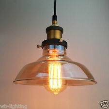 Antique Vintage Industrial Amber Glass Shade Pendant Lamp Ceiling Light Fitting