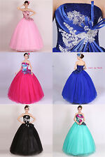New Applique Quinceanera Dress Organza Prom Party Evening Wedding Gown Size 6-18