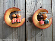 Fair Trade Hand Carved Made Wooden Cat Rabbit Moon Wall Hanging Mobile Ornament