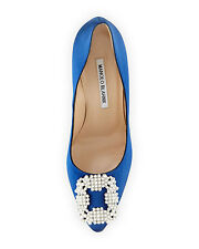$965 NEW MANOLO BLAHNIK HANGISI Pearly-Buckle Satin COBALT BLUE Pumps Wedding 40