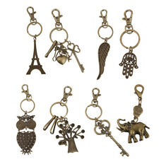 Antique Bronze Charm Split Ring Lobster Swivel Clasp Clips Keyring Key Chain Fob