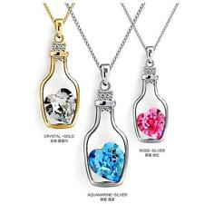 2016 Glass Wishing Bottle Pendant Love Heart Necklace Crystal Jewelry Gift L