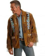 Mens Scully Leather Western wear Brown Suede Leather Jacket Fringe