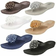 Ladies Spot On Mid Wedge Mule Sandals With Rosette Trim / Synthetic