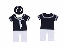 Baby Boy Girl Sailor Suit Marine Hat Navy Outfit Captain Costume Romper Grow Set
