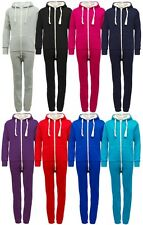 Childrens Unisex Boys Girls Kids Plain Onesie Hooded All In One Jumpsuit - C43