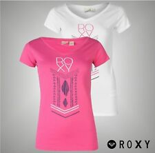 Ladies Branded Roxy Graphic Chest Print Lazy Day T Shirt V Neck Top Size 8-16