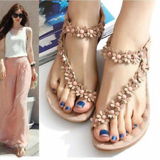 Summer Women Bohemia Floral Flat Shoes Beach Sandal Thong Slippers Flip FlopCS92