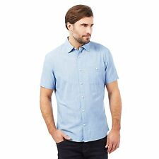 Maine New England Mens Blue Textured Short Sleeved Shirt From Debenhams