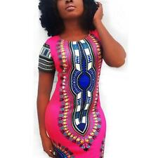 Womens African Printed Cocktail Party Shift Dresses Fashion Bodycon Dress S-XL