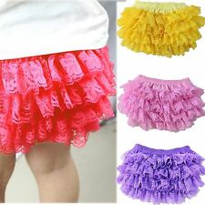 Newborn Baby Girl 0-2Y Cotton Lace Ruffle Nappy Diaper Cover Bloomers Panties