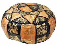 Egyptian Moroccan Handmade Genuine Leather Ottoman Pouf large *Different color*
