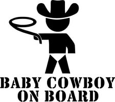 Baby Cowboy On Board - Vinyl Car Window and Laptop Decal Sticker