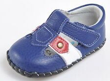 "Caroch ""Blair"" Boys Blue Leather Soft Sole Shoes 6 to 24 months Baby Toddler"