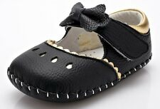 """YXY """"Bo Peep"""" Black Girls Leather Soft Sole Shoes 6 to 24 months Baby Toddler"""