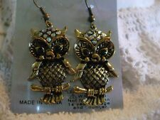 "OWL GOLD TONE DANGLE  PIERCED EARRINGS 2"" RED/BLUE/PINK/PURPLE"