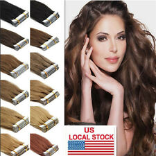 "20/40pcs 16-24"" 50g Remy AAA Tape In 100% Human Hair Extensions Straight / Wavy"