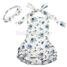 Baby Infant Girls Floral Halter Romper Jumpsuit Dress Bellyband Headband Outfits