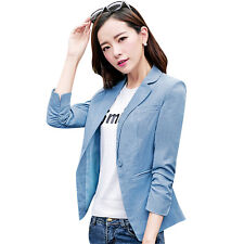New Womens Stylish Casual Suit Coat One Button Fitted Blazer Cardigan Jacket Top